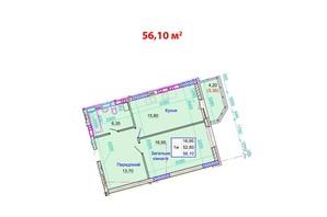 ЖК Стрітенський: планування 1-кімнатної квартири 56.1 м²