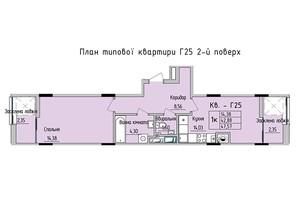 ЖК Стрийська-Наукова ІІІ: планування 1-кімнатної квартири 47.57 м²