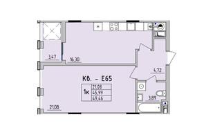 ЖК Стрийська-Наукова ІІІ: планування 1-кімнатної квартири 49.46 м²
