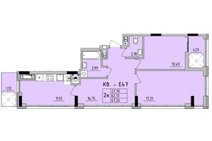 ЖК Стрийська-Наукова ІІІ: планування 2-кімнатної квартири 67.26 м²