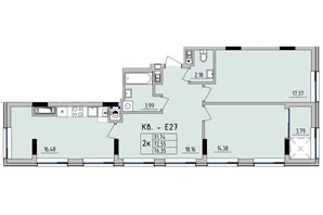 ЖК Стрийська-Наукова ІІІ: планування 2-кімнатної квартири 76.35 м²