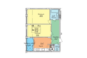 ЖК Стрийська-Наукова ІІІ: планування 2-кімнатної квартири 71.48 м²
