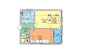 ЖК Стрийська-Наукова ІІІ: планування 1-кімнатної квартири 43.89 м²