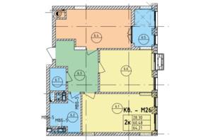 ЖК Стрийська-Наукова ІІІ: планування 2-кімнатної квартири 64.21 м²
