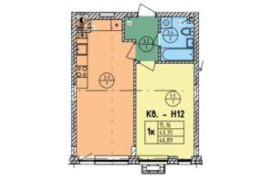 ЖК Стрийська-Наукова ІІІ: планування 1-кімнатної квартири 46.89 м²