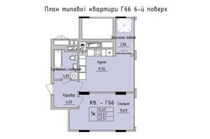 ЖК Стрыйская-Научная ІІІ: планировка 1-комнатной квартиры 43.51 м²