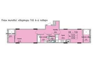 ЖК Стрыйская-Научная ІІІ: планировка 1-комнатной квартиры 49.98 м²