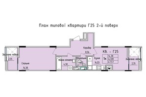 ЖК Стрыйская-Научная ІІІ: планировка 1-комнатной квартиры 47.57 м²