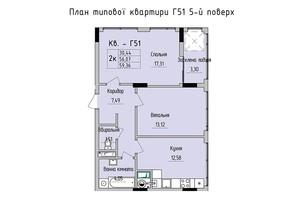 ЖК Стрыйская-Научная ІІІ: планировка 2-комнатной квартиры 59.36 м²