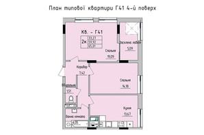 ЖК Стрыйская-Научная ІІІ: планировка 2-комнатной квартиры 65.01 м²