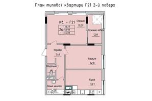 ЖК Стрыйская-Научная ІІІ: планировка 2-комнатной квартиры 65.08 м²