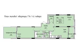 ЖК Стрыйская-Научная ІІІ: планировка 2-комнатной квартиры 69.79 м²