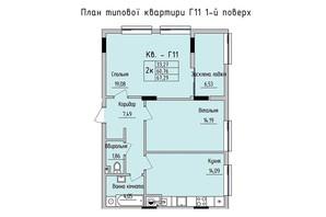 ЖК Стрыйская-Научная ІІІ: планировка 2-комнатной квартиры 67.29 м²
