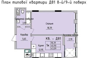 ЖК Стрыйская-Научная ІІІ: планировка 1-комнатной квартиры 43.09 м²