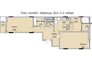 ЖК Стрыйская-Научная ІІІ: планировка 2-комнатной квартиры 68.13 м²