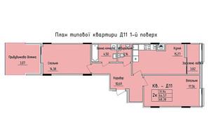 ЖК Стрыйская-Научная ІІІ: планировка 2-комнатной квартиры 68.38 м²