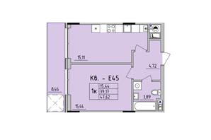 ЖК Стрыйская-Научная ІІІ: планировка 1-комнатной квартиры 47.62 м²