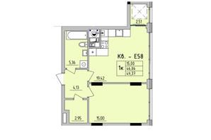 ЖК Стрыйская-Научная ІІІ: планировка 1-комнатной квартиры 49.37 м²