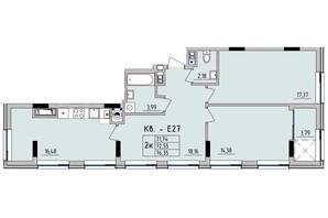 ЖК Стрыйская-Научная ІІІ: планировка 2-комнатной квартиры 76.35 м²