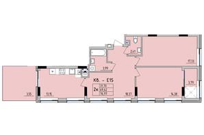 ЖК Стрыйская-Научная ІІІ: планировка 2-комнатной квартиры 76.97 м²