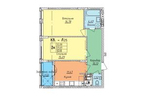 ЖК Стрыйская-Научная ІІІ: планировка 2-комнатной квартиры 63.18 м²