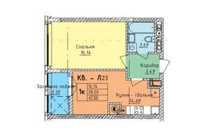 ЖК Стрыйская-Научная ІІІ: планировка 1-комнатной квартиры 46.02 м²