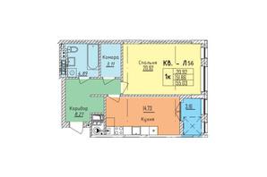 ЖК Стрыйская-Научная ІІІ: планировка 1-комнатной квартиры 55.03 м²