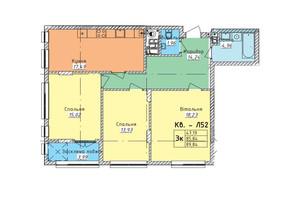 ЖК Стрыйская-Научная ІІІ: планировка 3-комнатной квартиры 89.84 м²
