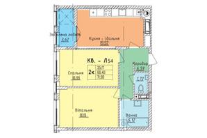 ЖК Стрыйская-Научная ІІІ: планировка 2-комнатной квартиры 71.98 м²