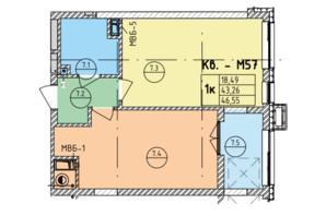 ЖК Стрыйская-Научная ІІІ: планировка 1-комнатной квартиры 46.55 м²