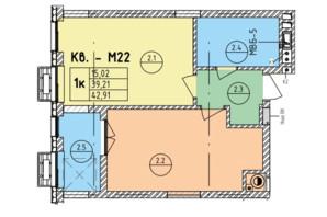 ЖК Стрыйская-Научная ІІІ: планировка 1-комнатной квартиры 42.91 м²