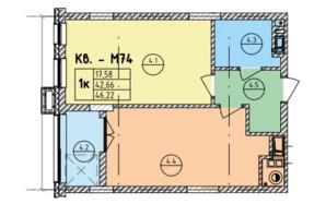 ЖК Стрыйская-Научная ІІІ: планировка 1-комнатной квартиры 46.22 м²