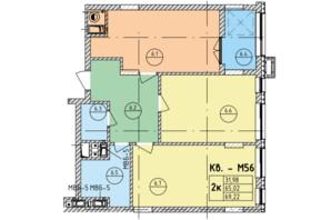 ЖК Стрыйская-Научная ІІІ: планировка 2-комнатной квартиры 69.22 м²