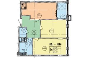 ЖК Стрыйская-Научная ІІІ: планировка 2-комнатной квартиры 69.27 м²