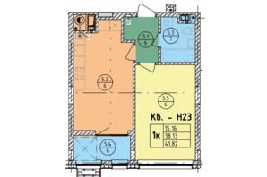 ЖК Стрыйская-Научная ІІІ: планировка 1-комнатной квартиры 41.82 м²