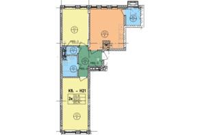 ЖК Стрыйская-Научная ІІІ: планировка 2-комнатной квартиры 65.94 м²