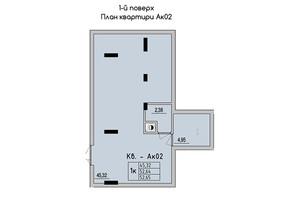 ЖК Стрыйская-Научная ІІІ: планировка 1-комнатной квартиры 52.65 м²