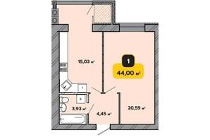 ЖК Студенческий: планировка 1-комнатной квартиры 44 м²