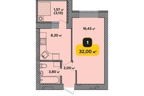 ЖК Студенческий: планировка 1-комнатной квартиры 32 м²