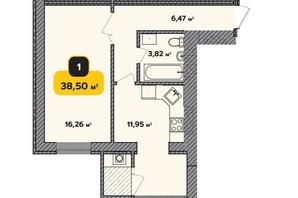 ЖК Студенческий: планировка 1-комнатной квартиры 38.5 м²