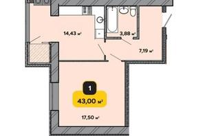 ЖК Студенческий: планировка 1-комнатной квартиры 43 м²