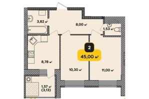 ЖК Студенческий: планировка 2-комнатной квартиры 45 м²