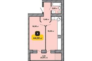 ЖК Студентський: планування 1-кімнатної квартири 44 м²