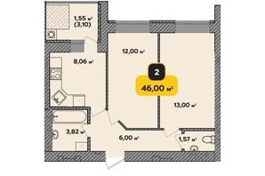 ЖК Студентський: планування 2-кімнатної квартири 46 м²