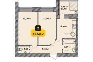 ЖК Студентський: планування 2-кімнатної квартири 45.5 м²