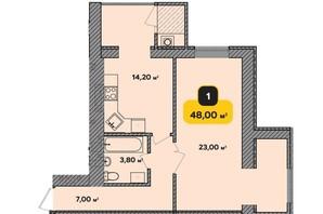 ЖК Студентський: планування 1-кімнатної квартири 48 м²