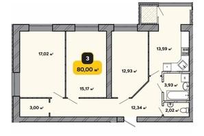 ЖК Студентський: планування 3-кімнатної квартири 80 м²