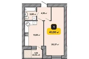 ЖК Студентський: планування 1-кімнатної квартири 41 м²