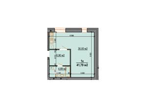 ЖК StyleUP: планування 1-кімнатної квартири 41.79 м²