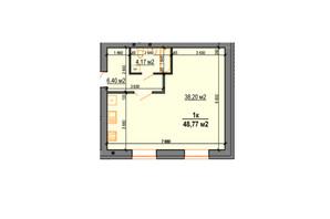 ЖК StyleUP: планування 1-кімнатної квартири 48.77 м²